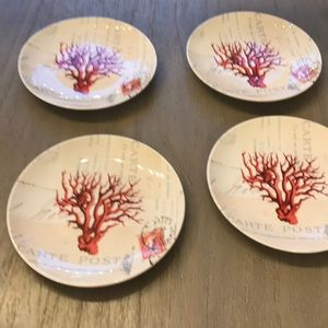 4 Red Coral Salad Plates